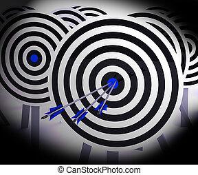 Triple Target Shows Focused Successful Aim