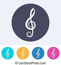 triple, vecteur, clef, icône