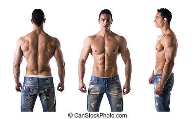 triple, vista, de, shirtless, bodybuilder:, espalda, frente,...