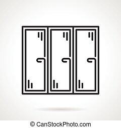 Triple window black line vector icon