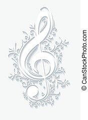 triplo, abstratos, musical, clef., fundo