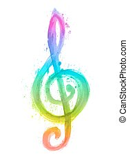 triplo, arco íris, clef, aquarela, g