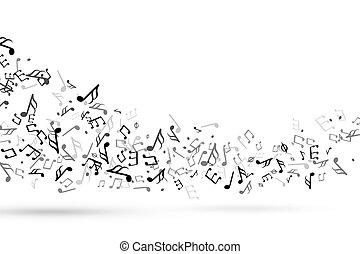 triplo, chiave, sinfonia, note, doga, onda, armonia, vettore, musica, fondo, fluente, melodia, swirl., chiave, personale musicale