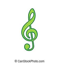 triplo, clef., limone, g-clef., segno., isolato, fondo., chiave, musica, vector., violino, bianco, scarabocchio, icona
