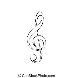 triplo, clef., pontilhado, isolated., g-clef., sinal., ...