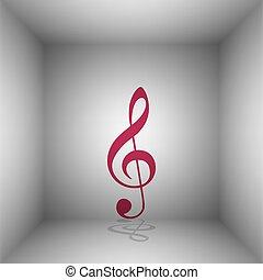 triplo, clef., room., g-clef., sinal., música, bordo, violino, sombra, clef, ícone