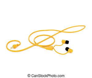 triplo, concetto, forma, cavo, cuffie, isolato, giallo, fondo., musica, bianco, 3d, chiave, illustration.