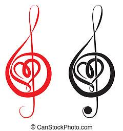 triplo, coração, clef, amor, baixo