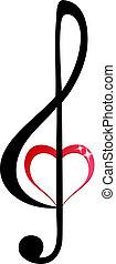 triplo, coração, clef, brilhante