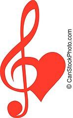 triplo, coração, clef