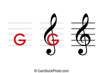 triplo, desenvolvimento, clef, g-clef