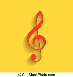 triplo, dorato, clef., g-clef., segno., fondo., chiave, musica, vector., violino, uggia, morbido, rosso, icona