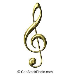 triplo, dourado, clef, 3d