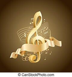 triplo, dourado, marrom, notas, abstratos, linhas, fundo, clef, musical, fita