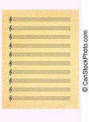 triplo, folha, em branco, música, 3, clef
