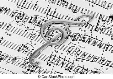 triplo, folha, -, música, fundo, clef, musical