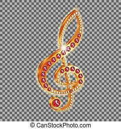 triplo, jóias, clef, musical