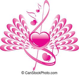 triplo, nota, asas, clef, coração