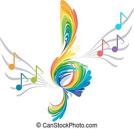 triplo, nota, respingo, clef, musical