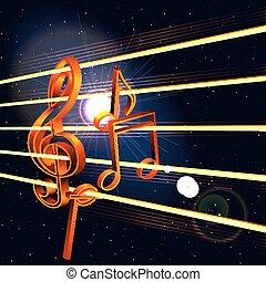triplo, notas, clef, espaço