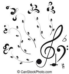 triplo, notas, desenho, music., clef, seu