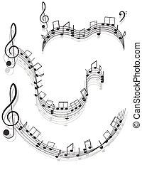triplo, notas, dois, experiência., desenho, branca, music., seu, clefs