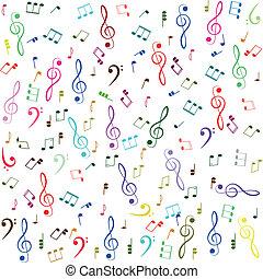 triplo, notas, music., clef, coloridos