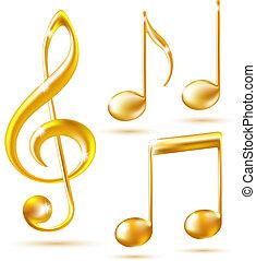 triplo, notas., ouro, ícones, música, clef
