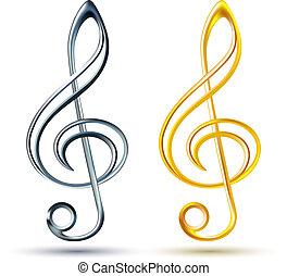 triplo, ouro, fundo, branca, clef, prata