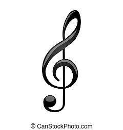 triplo, silueta, sinal, música, monocromático, clef