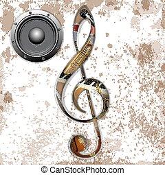 triplo, strumenti, buco, chiave, musicale
