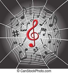 triplo, teia, notas, aranha, música, clef