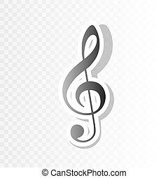 triplo, violino, clef., vector., transition., g-clef., segno., anno, musica, fondo, blackish, nuovo, chiave, trasparente, icona