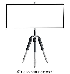 tripod and empty banner against white background, abstract ...