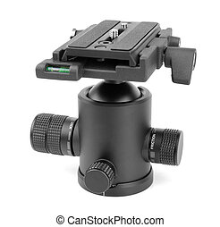 Tripod ball head with sliding plate isolated on white.