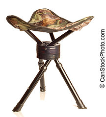 tripod camouflage hunting stool isolated on white background