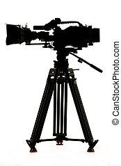 tripod., macchina fotografica, silhouette