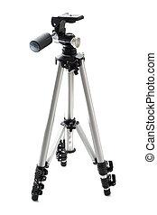 Tripod - professional photographic equipment. Isolated on white background. Studio light.