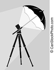 tripod silhouette on gray background, vector illustration