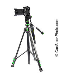 Tripod with camera on white background