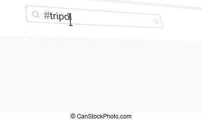 Tripoli hashtag search through social media posts animation