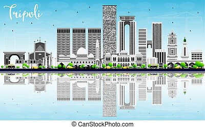 Tripoli Skyline with Gray Buildings, Blue Sky and Reflections.