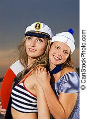 tripulação, navio, excitado
