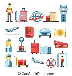 tripulação vôo, bagagem, aeroporto, tábua, serviços, procedimentos, homem