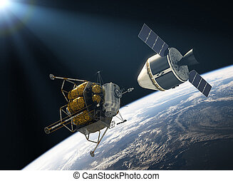 tripulación, exploración, vehículo, unión cósmica