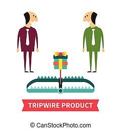 tripwire, produto, vetorial, conceito, em, apartamento, estilo