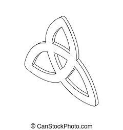 triquetra, ícone, isometric, 3d