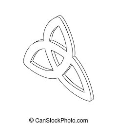 Triquetra icon, isometric 3d - Triquetra celtic knot symbol...