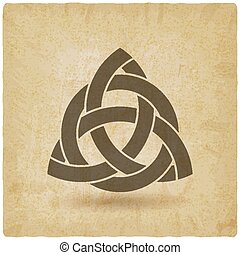triquetra in circle old background. vector illustration -...