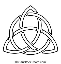 Triquetra in circle Trikvetr knot shape Trinity knot icon...